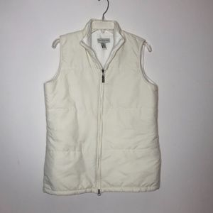 Lord & Taylor Winter White Zip Front Vest ~ M